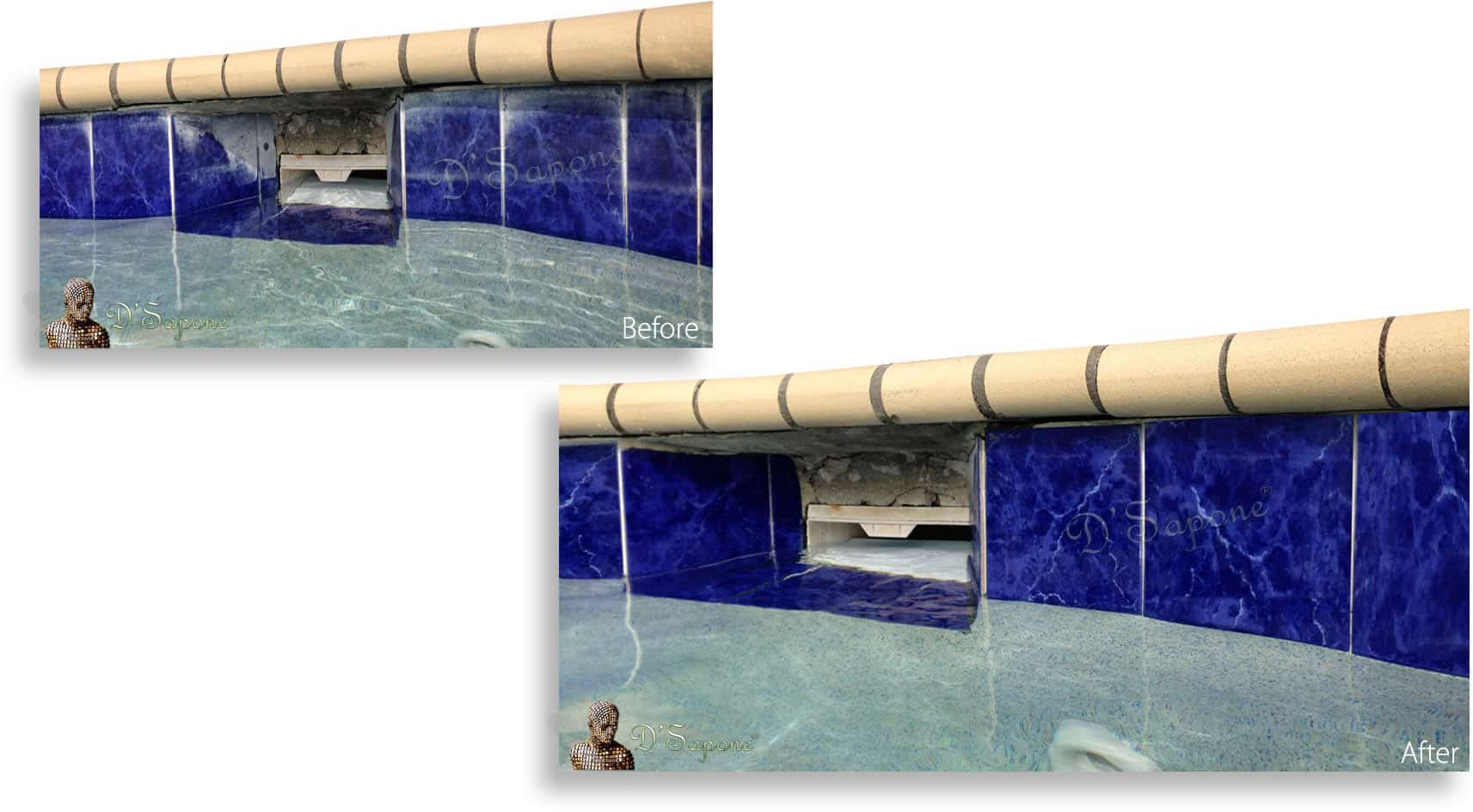 Pool Tile Restoration San Diego-before and after