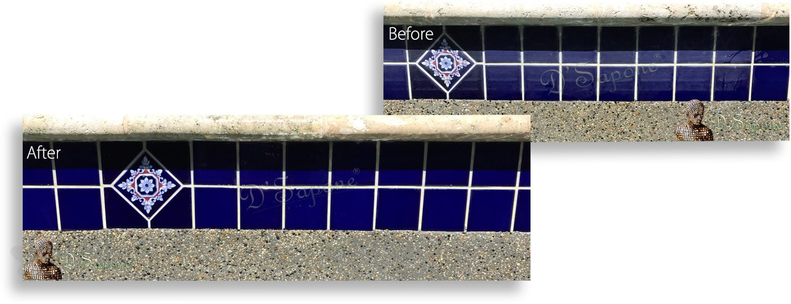 Efflorescence removal tile Minerals stone pool Before After